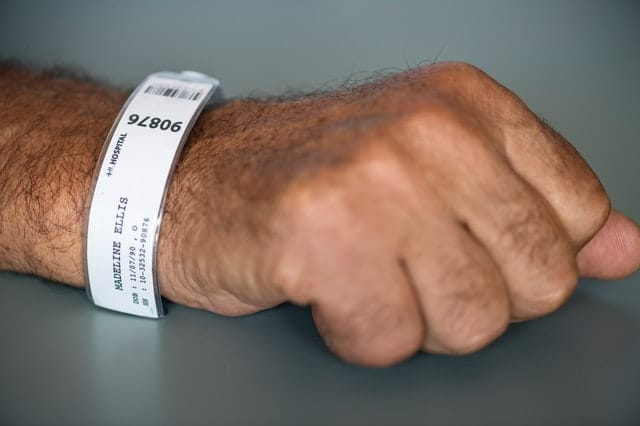 hospital bracelet with HIPAA information